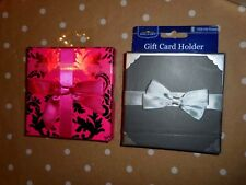 8 WEDDING PARTY Gift Card Holders ** Pink Foil Damask OR Black Silver Bow Tie