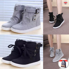 HOT WOMENS SHOES FLAT LACE UP TRAINERS HIGH HI TOP PUMPS ANKLE BOOTS SHOES UK