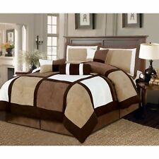 The king size 7-Piece Bed in a Bag Patchwork Comforter set in Brown White