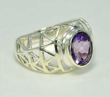 NATURAL PURPLE AMETHYST FEBRUARY BIRTHSTONE 925 STERLING  SILVER  RING #0090
