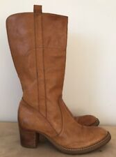 Women's PIED A TERRE Tan Leather Mid Heel Boots Size UK 6/39