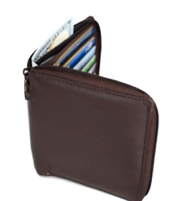 RFID Blocking Genuine Leather European Style Wallet Brown Black Zippered Men Man