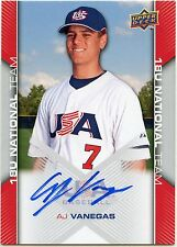 2009 UD USA Box Set A.J. Vanegas 18U National Team Autos & Relics (You Pick)