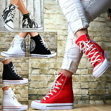 WOMEN'S HIDDEN WEDGE HEEL HIGH-TOP ANKLE SNEAKERS WHITEsizes@@ ****&&@