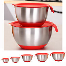 Large Mixing Bowl Prevent Splash Lid Salad Bowl Stainless Steel Various Size