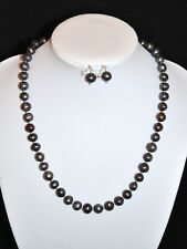 Genuine Peacock Freshwater Cultured Pearl Necklace and Earrings set