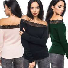 Sexy Women Crochet Floral Lace Off Shoulder Blouse Top Casual Knit Tee T-shirt