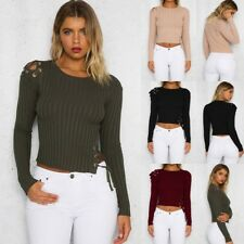 AU Fashion Womens Ribbed Long Sleeve Crop Top Blouse Side Lace Up Jumper T Shirt