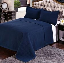 Luxury Navy Blue Quilted Wrinkle Free Microfiber Coverlet AND Pillow Shams