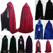 Hollowee Cosplay Cape Robe Hooded Velvet Cloak Gothic Wicca Medieval 5 Colors