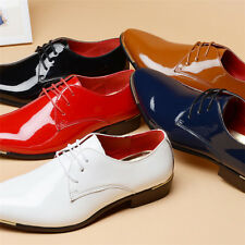 Mens Pointed Patent Leather Smart Business Formal Dress Lace Up Shoes Size 6-10