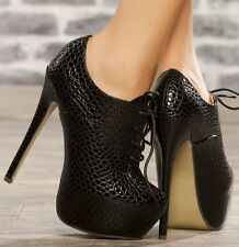 WOMENS LADIES CONCEALED PLATFORM STILETTO HEEL LACE UP ANKLE BOOTS SHOES SIZE