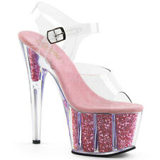Pleaser 7 inch baby pink glitter ankle stap stripper shoes