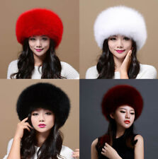 Womens Ladies Real Fox Fur Hat Russian Ushanka Lamb Leather Top Warm Winter