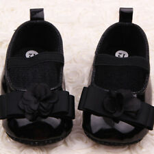 Anti-slip Mary Jane PU Leather Shoes Kids Baby Girl Flower Soft Sole Crib Shoes