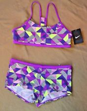 NWT GIRLS KIDS YOUTH NIKE PINK BIKINI BATHING SWIM SUIT TOP BOTTOM SET SIZE 14