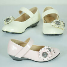 Girls Formal Rhinestone Flowergirl Wedding Shoe Party Pink Cream AU Sz 6.5-3
