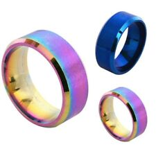 Unisex Rainbow Color Stainless Steel Ring Band Accessory Wedding Ring Size 5-14