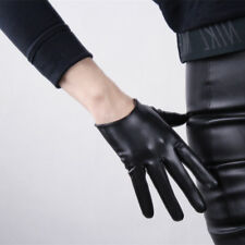 TECH GLOVES Extra Short Faux Leather Black Cosplay Driving Touchscreen Sensitive