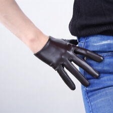 TECH GLOVES Extra Short Faux Leather Dark Brown Coffee Touchscreen Sensitive