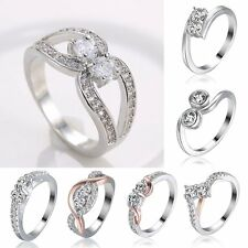 18K CZ Zirconia White Gold Filled Silver Ring Women Wedding Engagement #7/8/9