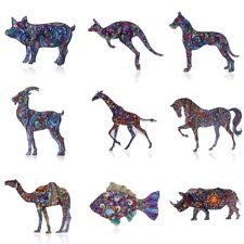 Fashion Woman Printing Animal Dog Fish Horse Brooch Pin Lady Jewelry Party Gift
