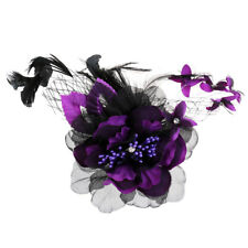 Fabric Flower Feather Corsage Brooch Hair Clip Glamour Fascinator Bridal Clip