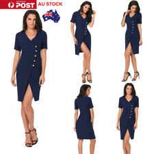 AU Women Ladies Summer Button Side Split Dress Evening Party Short Sleeve Dress