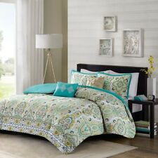 Yellow White & Green Floral Ogee Comforter Set AND Decorative Pillows