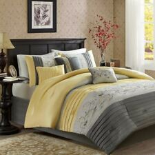 Luxury 7pc Grey & Yellow Embroidered Floral Comforter Set AND Decorative Pillows