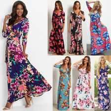 Womens Floral Print 3/4 Sleeve Boho Dress Ladies Evening Party Long Maxi Dress