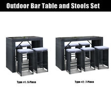 5/7pcs Waterproof Outdoor Seater Bar Table Stools Chair Set Patio Deck Furniture