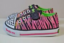NEW BABY GIRL TODDLER SKECHERS TWINKLE TOES PINK ZEBRA LIGHT UP SHOES SZ 5