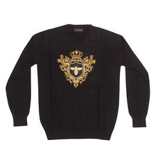 Dolce & Gabbana Mens Embroidered Cardigan Sweater Shirt Bee and Crown XXL