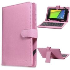 "Micro USB Keyboard PU Leather Case Cover For 7"" Android Tablet PC Black Pink"