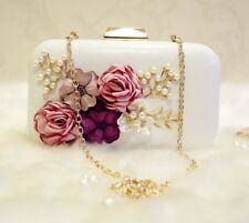 Luxury Crystal Clutch Evening Bag White Black Flower Party Purse Women Wedding
