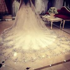 New Long Veil Luxury Bridal Wedding Veil 3M Cathedral Beads White/Ivory Comb Hot