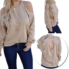 Womens Fashion Tops New Long Sleeve T-Shirt Cotton Blouse Loose Casual