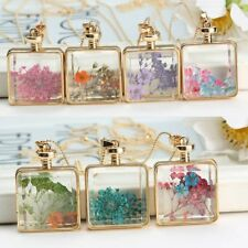 Real Dried Pressed Flower Pendant Necklace Square Glass Gold Floating Locket New