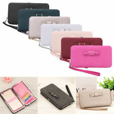 Women Bow-tie Wallet Ladies Phone Bag Long Clutch Purse Faux Leather Card Purse