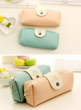 Cute Leather Cosmetic Makeup Bag Pen Pencil Stationery Case Zipper Pouch Box