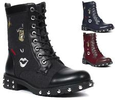 WOMENS LADIES EMBROIDERY STUDDED SPIKES LOW HEEL BIKER PUNK ANKLE BOOTS 3-8