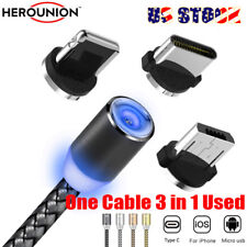 US Shipping 3in1 Type C/iOS/Micro USB Magnetic Plug LED Cable Charger for iPhone
