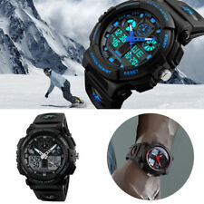 Alarm Analog Digital Wrist Watch Multifunction Date Waterproof Sport Silver Men