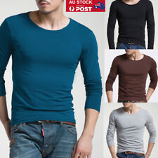 AU Mens Casual Slim Fittness Long Sleeve Round Neck T-shirt Muscle Basic Tops