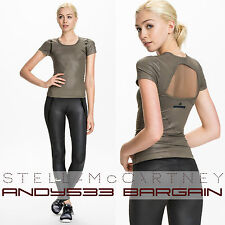 $85 Stella McCartney adidas Women Sport Run Performance Tee Mesh Top Yoga 2XS XS