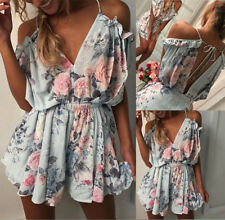 AU Womens Floral Holiday Mini Playsuit Ladies Jumpsuit Summer Beach Dress Shorts