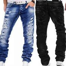 Men's Jeans Casual Distressed Straight Stylish Ripped Denim Pants Trousers