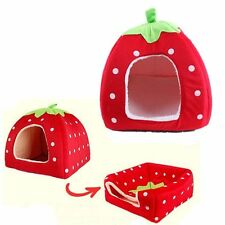 Pet Dog Cat Soft Strawberry Bed Durable House Kennel Doggy Puppy Cushion Basket