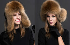 Womens Ladies Real Fox Fur Hat Russian Ushanka Lamb cloth Top Warm Winter 253